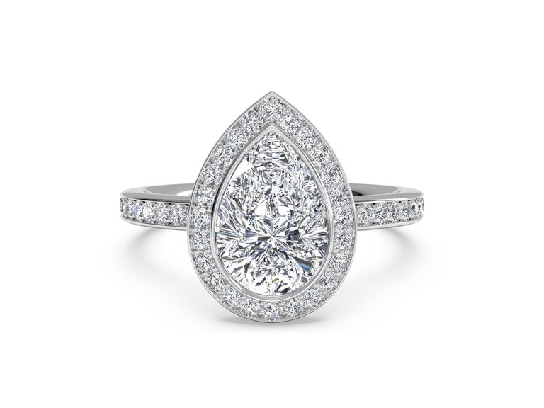 Ritani vintage halo micropavé diamond band engagement ring in 18K white gold