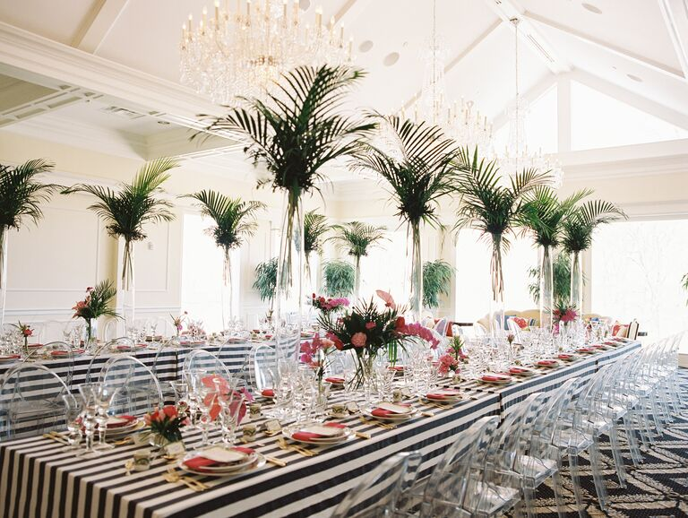 Bridal shower luncheon with palm leaf centerpieces