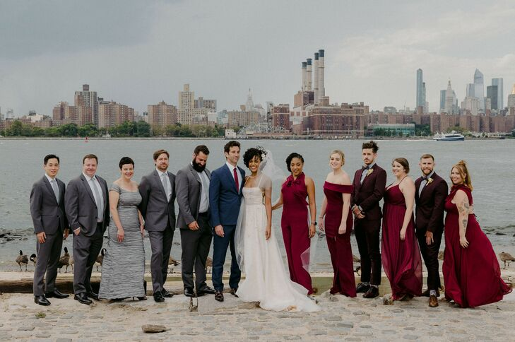 Waterfront Wedding Party Portraits for Brooklyn Wedding