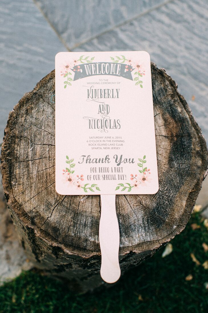 Now this was a chic way to bring in a natural setting. Kim and Nick found their neutral ceremony fans through an Etsy.com designer and personalized each detail. Its olive branch and pink flower-inspired border highlighted their venue while the distressed gray fonts alluded to the vintage, romantic wedding style.