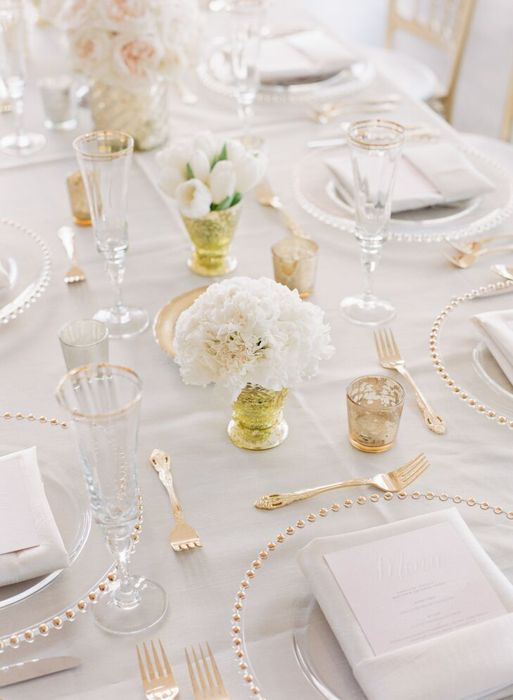 Small White Peony Wedding Reception Centerpieces