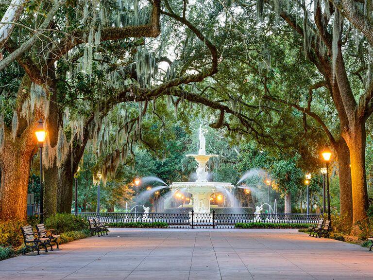 Park fountain in Savannah