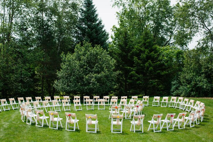 Katrina and Sandy arranged the guests' ceremony chairs in a spiral so that each of their 65 guests had a front-row view for their entrance.