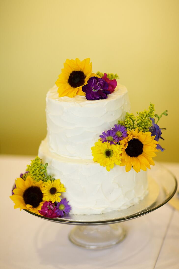 Yellow And Purple Flower Decorated Wedding Cake