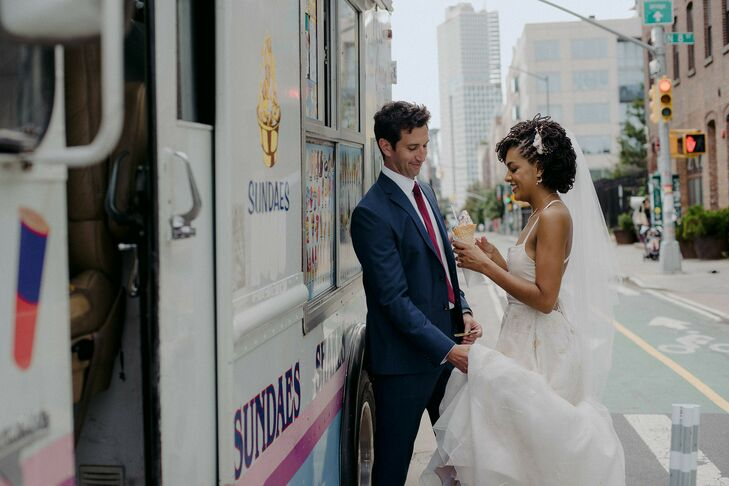 Couple Shares Ice Cream at Brooklyn Wedding