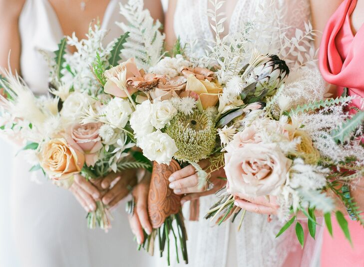 Rustic Bouquet with Protea, Peonies and Leather Wrap