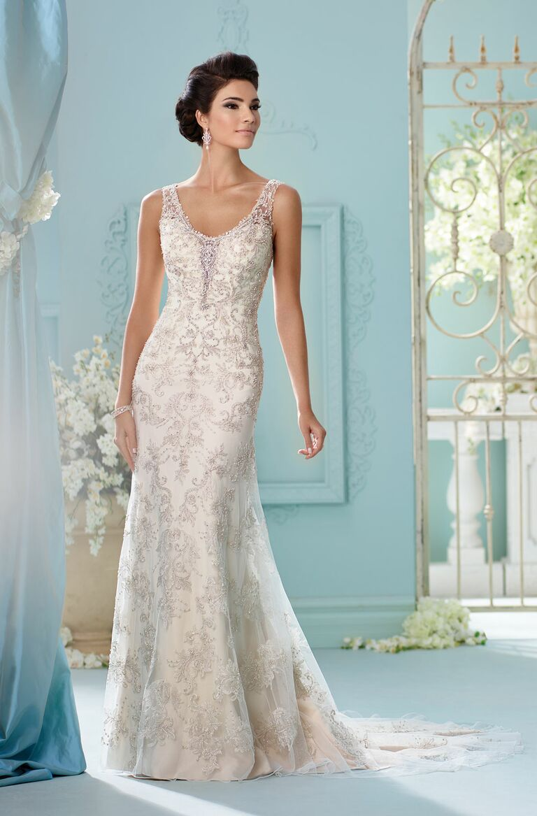 David Tutera Spring 2017 Sleeveless Mermaid Gown With Paisley Beaded  Embroidery And Illusion Keyhole