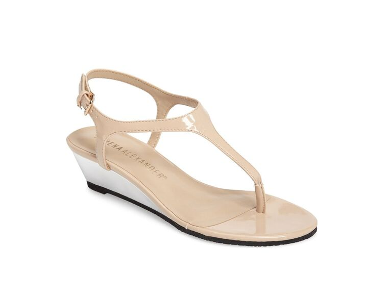 Athena Alexander Nude Wedding Wedge Sandal