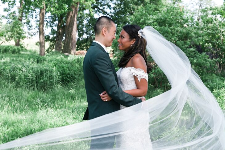 Marla's cathedral-length veil added a dramatic effect in many wedding photos.