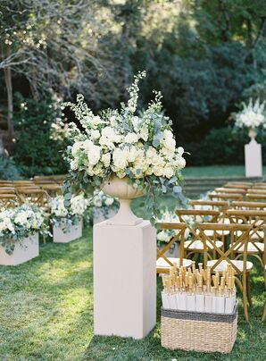 Rose and Eucalyptus Aisle Arrangement  for Napa Valley Wedding