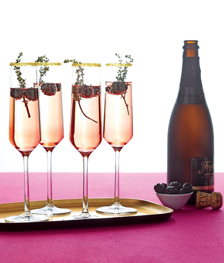 Champagne cocktails with garnish