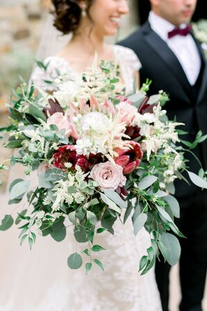 Protea Bouquet with Greenery at Florida Wedding