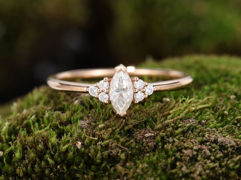 SonyaJewelryShop marquise cut moissanite engagement ring in 14K yellow gold