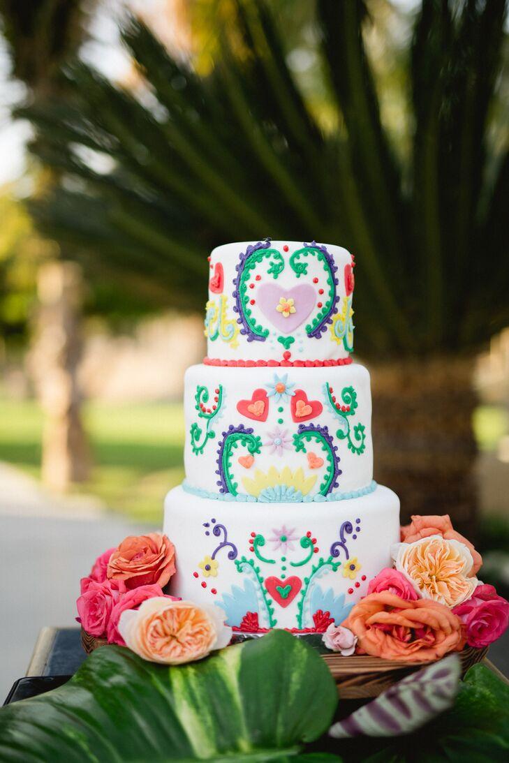 Colorful Talavera-Style Wedding Cake
