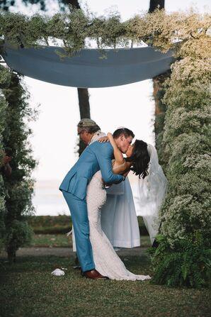 Baby's Breath Arch at Outdoor Ceremony