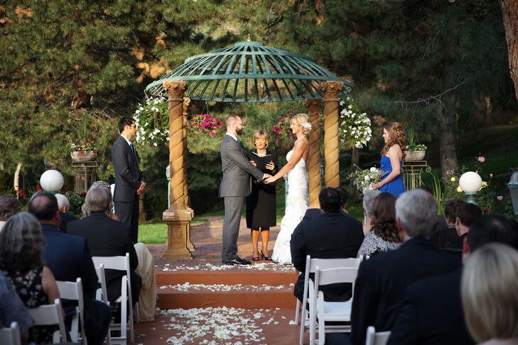 "Courtney and John exchanged vows under a pavilion on the grounds of La Caille in Sandy, Utah. ""I wanted a beautiful outdoor, garden ceremony, and La Caille is simply picturesque,"" Courtney says. ""It can't be beat."""