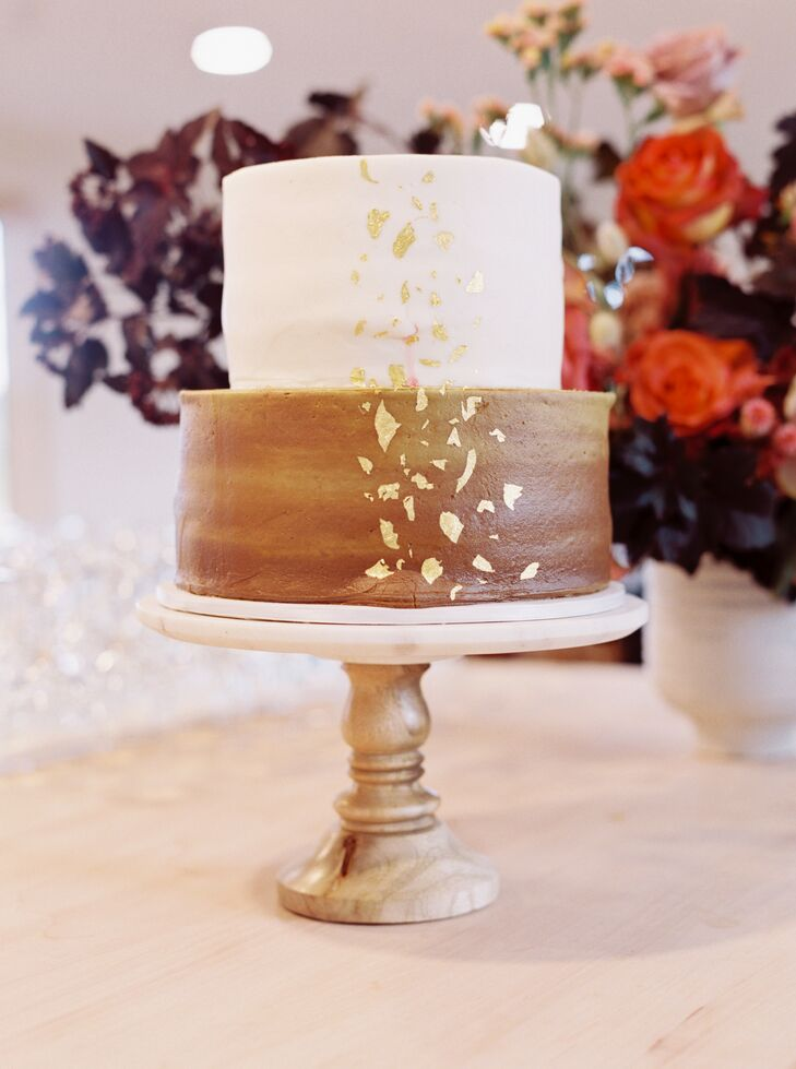 Brown-and-Gold Wedding Cake at Nature Michigan Retreat in Maple City