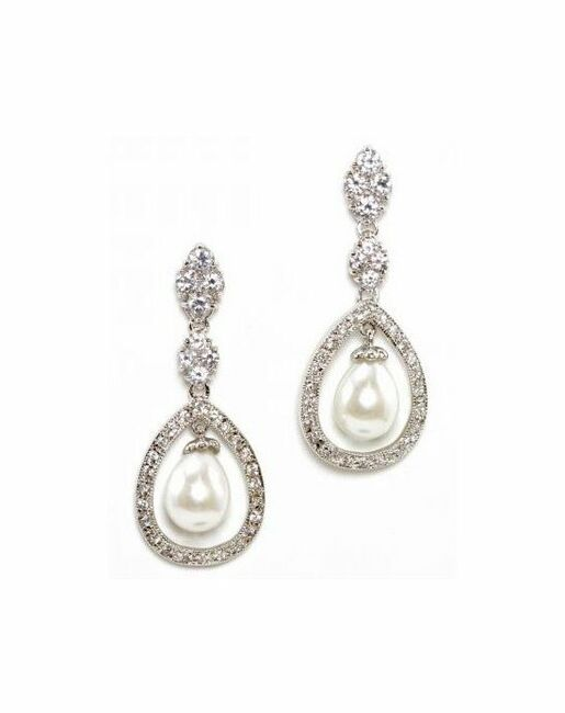Anna Bellagio Donatella Freshwater Pearl And Crystal Earrings Wedding Photo