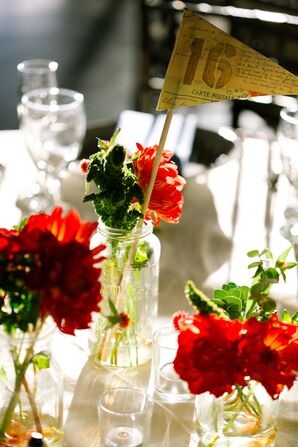 Orange and Red Floral Centerpieces
