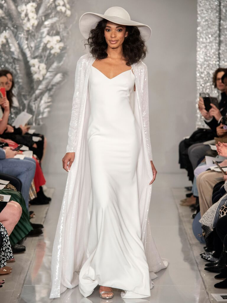 Theia Spring 2020 Bridal Collection wedding dress with embellished duster jacket