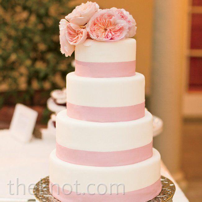 Pink Banded Wedding Cake