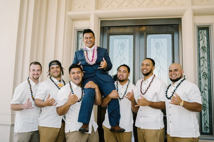 Vasa's groomsmen wore khakis, cream shirts embroidered with leaves and flowers. They also wore traditional Kukui Nut leis.