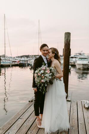 Whimsical Organza Wedding Dress with Embellished Bodice