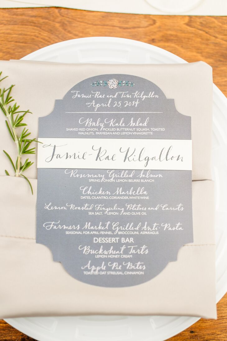 To continue the natural, outdoor feeling of the reception, each place setting had a sprig of greenery tucked next to the menu card.