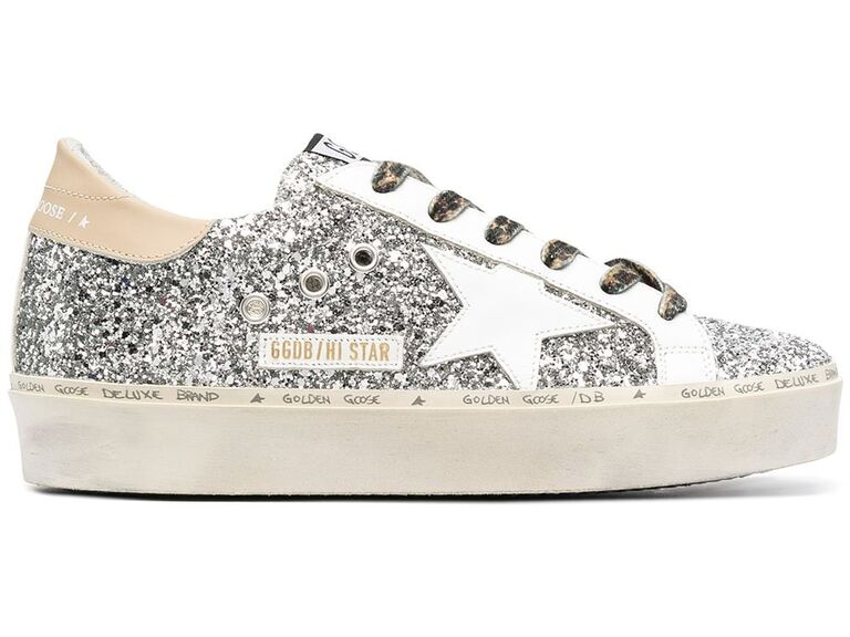 Distressed-chic silver glittery Golden Goose tennis shoe