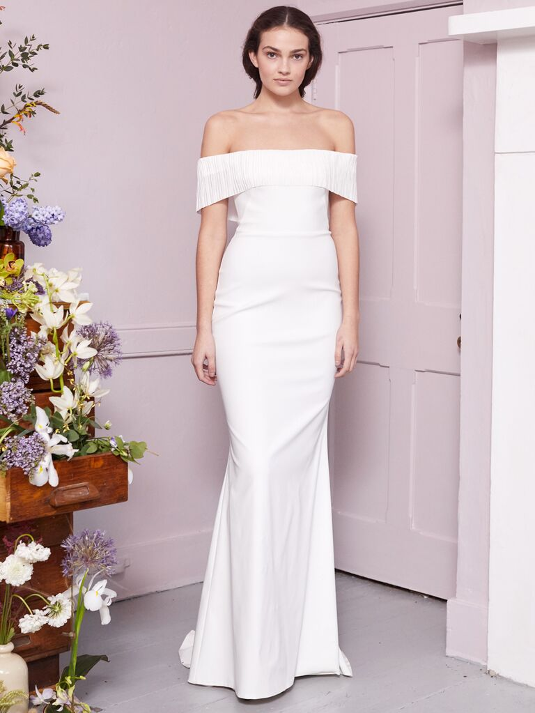 Halfpenny London 2020 Bridal Collection off-the-shoulder simple column wedding dress