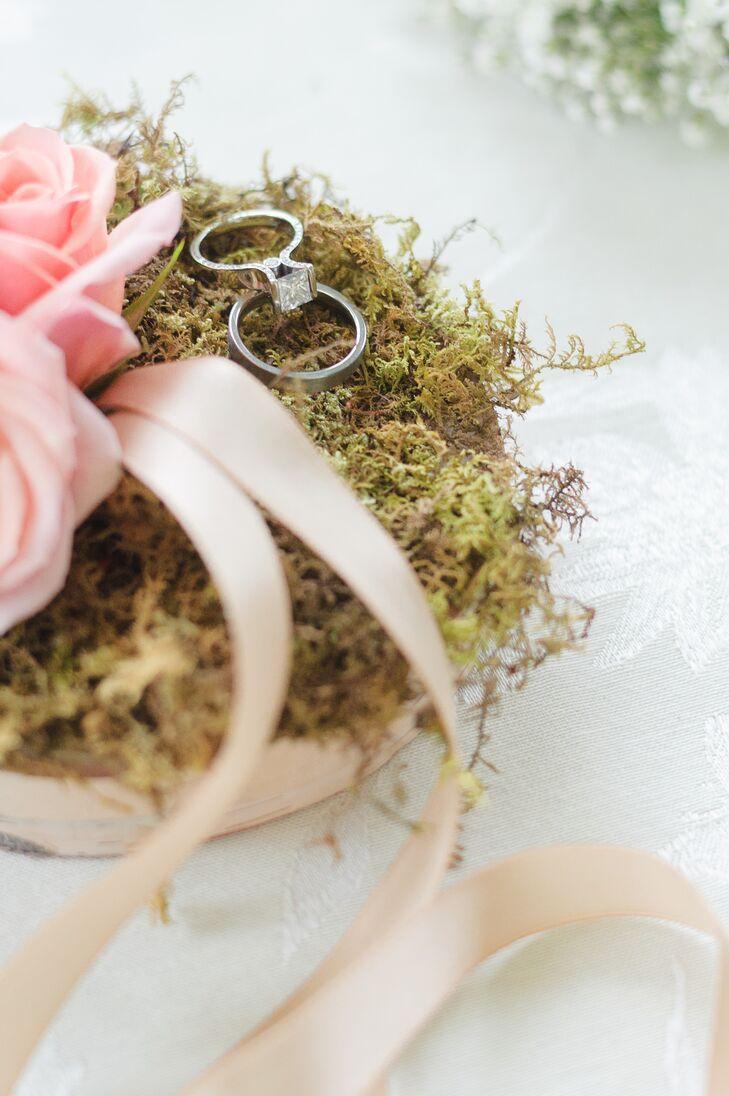 Raised Princess Cut Diamond Ring on Moss