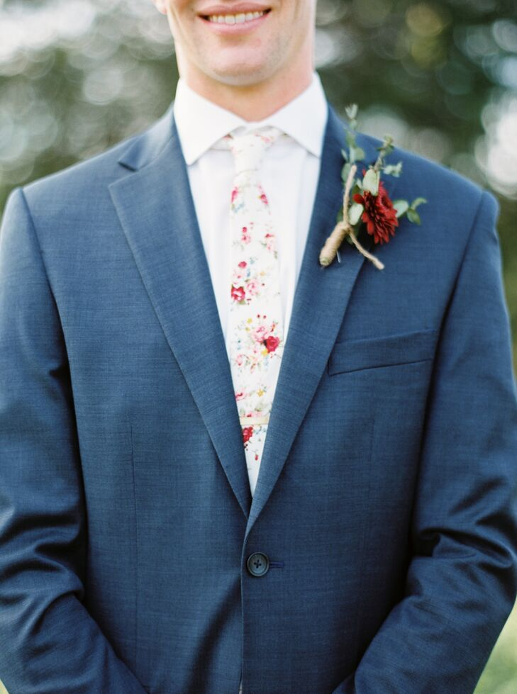Floral Tie and Burgundy Dahlia Boutonniere