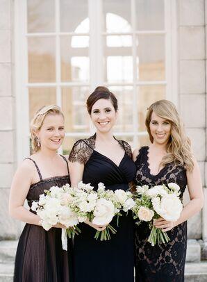 Bridesmaids in Formal Black Mismatched Dresses