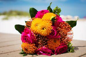 Orange Protea, Raspberry Rose Bridesmaid Bouquets