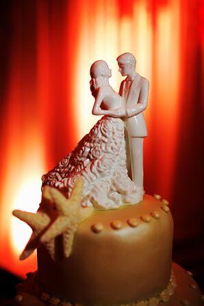 Rose Detailed Bride, Groom Cake Topper