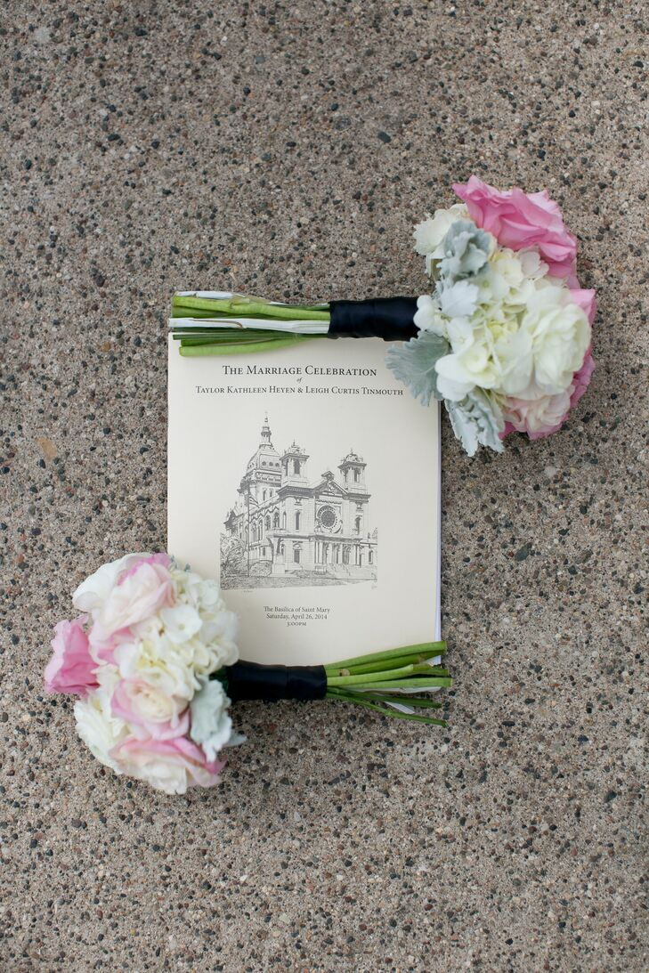 Bachman's was responsible for the bridal bouquets while the couple used Minted to create their unique, navy and white invitations.