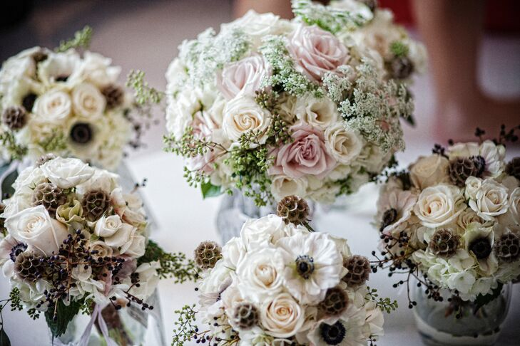 Rose, Hydrangea and Queen Anne's Lace Bridal Party Bouquets