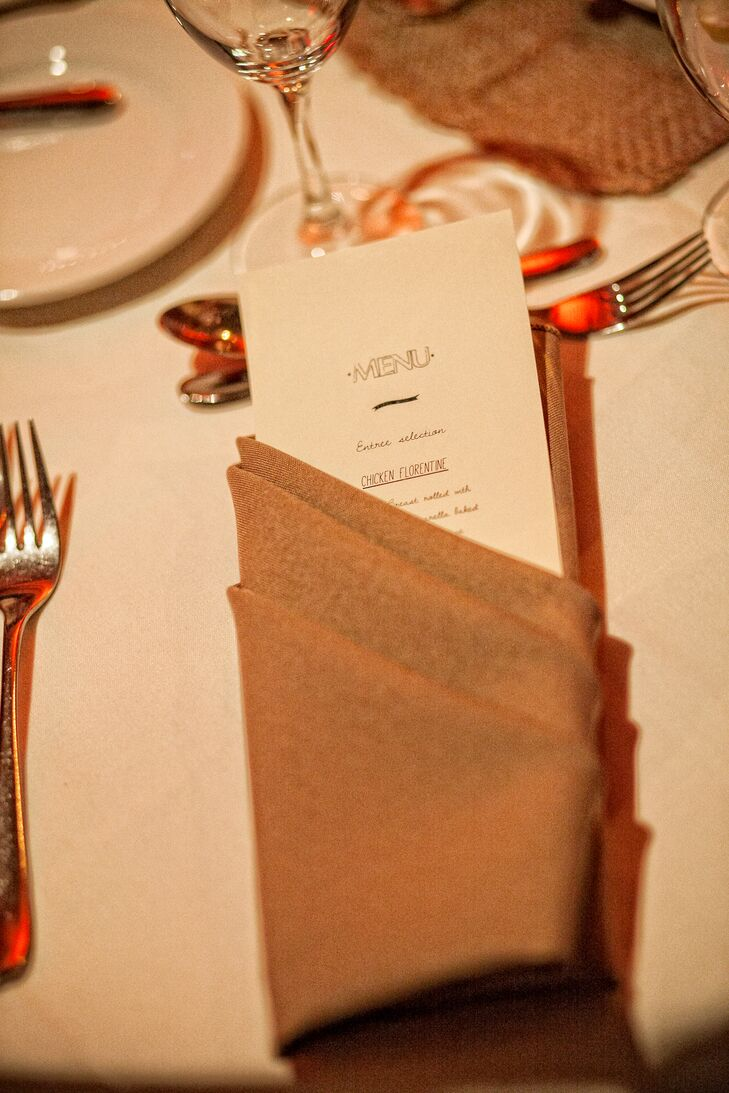 Taupe Folded Napkins With Menu Card