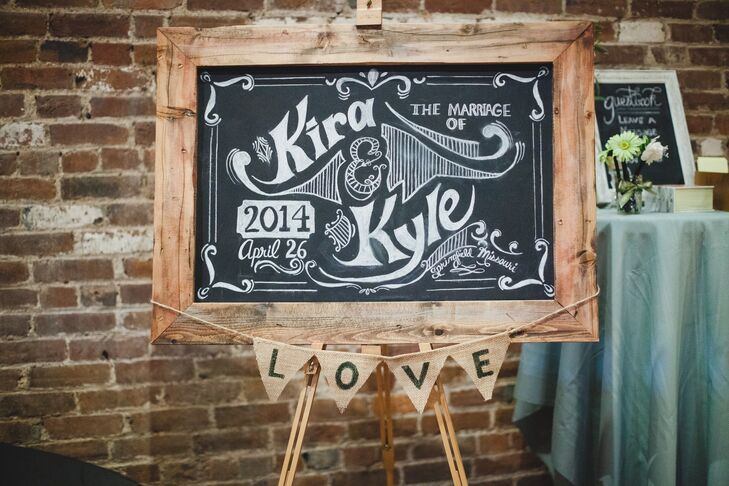 Kira and Kyle incorporated ornate chalkboards throughout the day. The rustic welcome sign was framed in wood and decorated with burlap love flags.