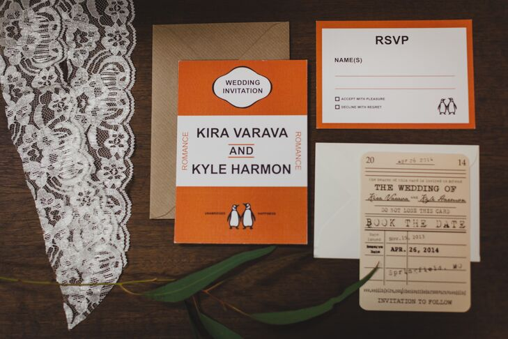 Kira and Kyle sent literary-themed, Penguin Press-inspired invitations to guests and carried the theme throughout the day.