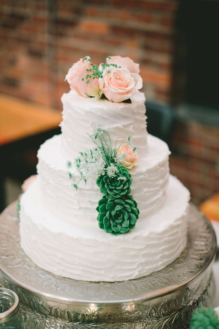 White Buttercream Cake With Fresh Roses and Succulents