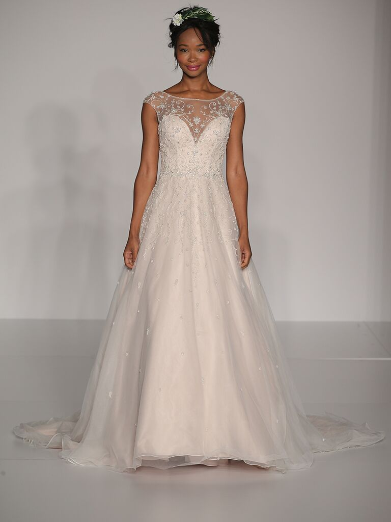 Maggie Sottero Fall 2017 blush illusion sweetheart A-line wedding dress with off-shoulder beaded boat neck