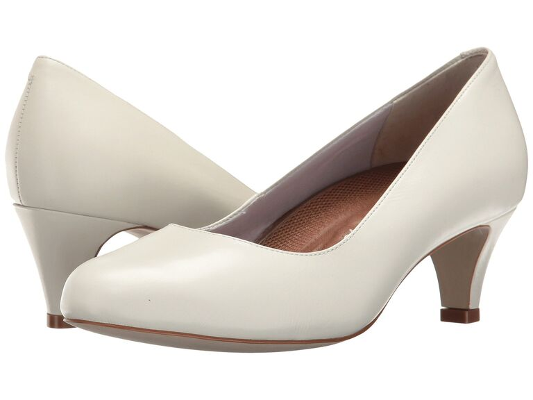 White comfortable wedding pumps