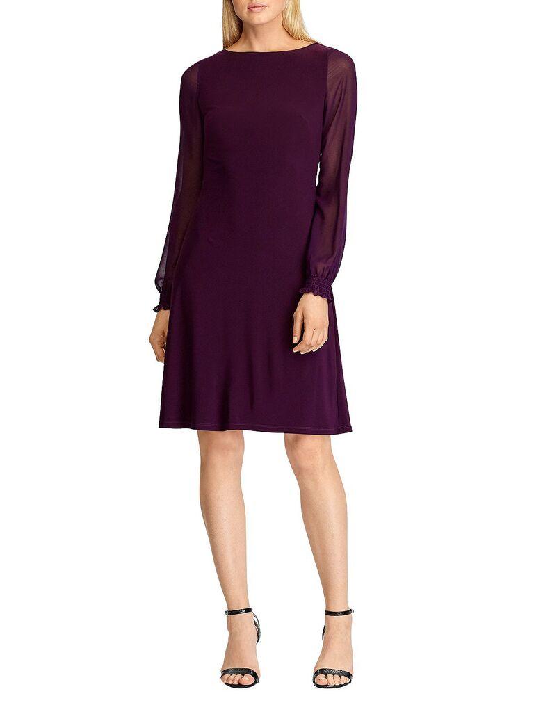 Long-sleeve burgundy winter wedding guest dress