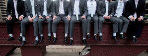 Groomsmen in Gray Men's Wearhouse Suits