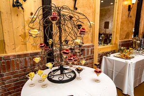 Cake-Filled Martini Glass Tree Dessert Display