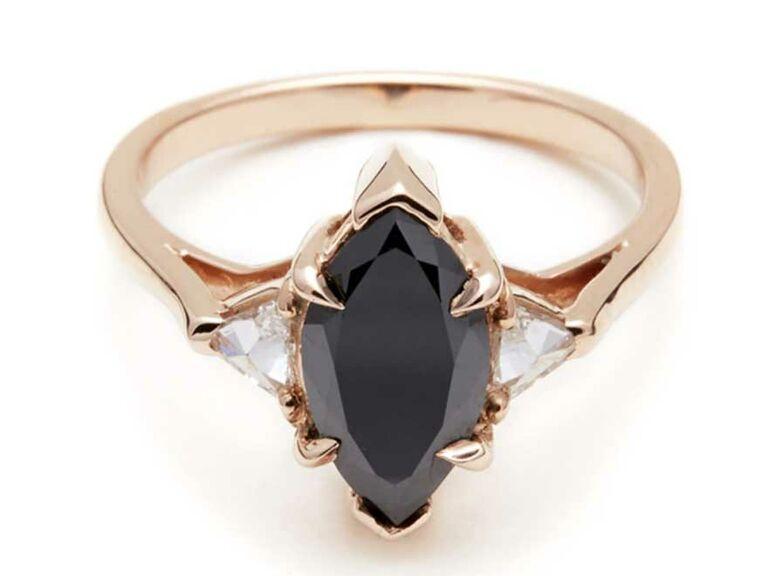 Marquise-cut black diamond engagement ring
