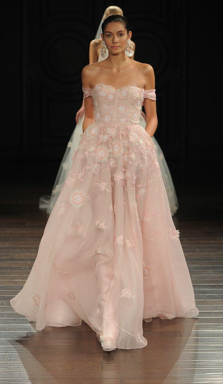 Naeem Khan Spring 2017 Blush Silk Organza Off The Shoulder Wedding Dress