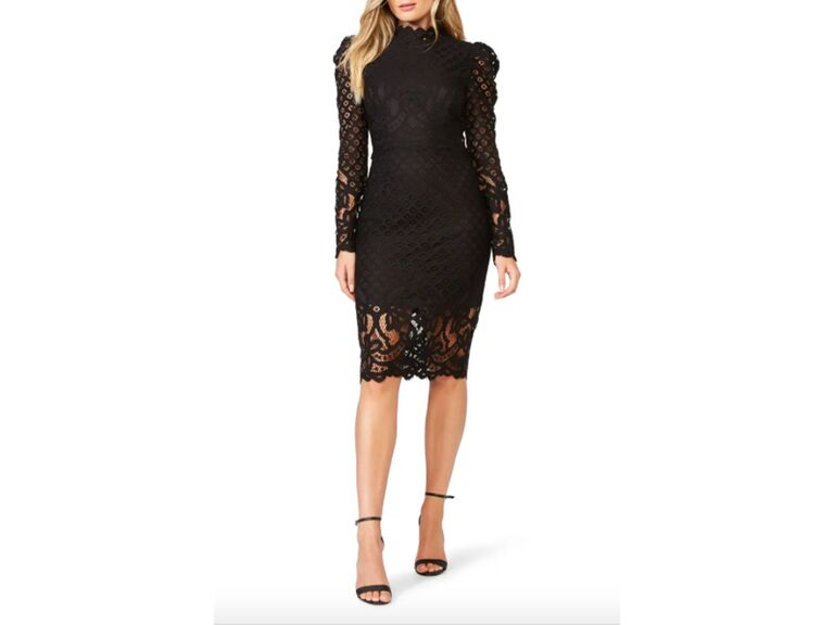 Black lace midi dress with long sleeves and high neckline