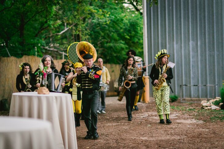 The newlyweds started the reception festivities with a lively recessional led by the Minor Mishap Marching Band.